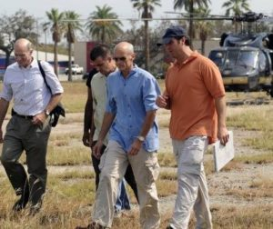 Secretary of Homeland Security Michael Chertoff arrives in Galveston, TX after landfall of Hurricane Ike, accompanied by DHS Director of Intergovernmental Affairs Ed Cash